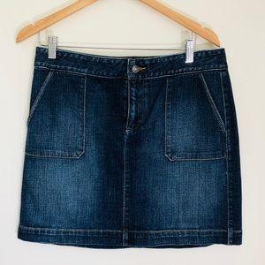 NWOT Loft denim skirt with pockets medium wash